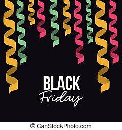 decorativo, coloridos, cor, cartaz, sexta-feira, espiral, experiência preta, fitas