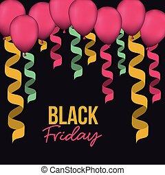 decorativo, colorito, colorare, manifesto, venerdì, spirale, sfondo nero, magenta, nastri, palloni