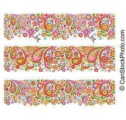 decorativo, colorito, summery, seamless, stampa, profili di fodera, fiori
