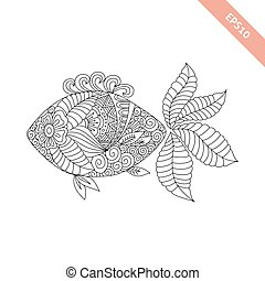 decorativo, coloritura, fish, ornament., illustrazione, cartone animato, libro, vettore, floreale, pagina, element.
