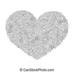 decorativo, coloritura, heart., illustration., più vecchio, vettore, adulto, children., amore, libro