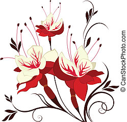 decorativo, composición, flor, fucsia, vector, flores, ramo