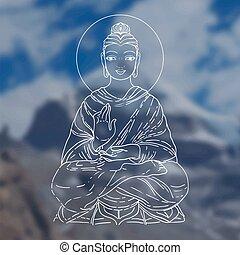 decorativo, composition., spirituale, illustration., seduta, yoga, sopra, buddismo, acquarello, fondo., vettore, spirituality., motifs., indiano, vendemmia, budda, tatuaggio