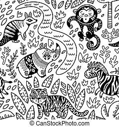 decorativo, configuración de animal, seamless, tropical, vector, caracteres, contorno