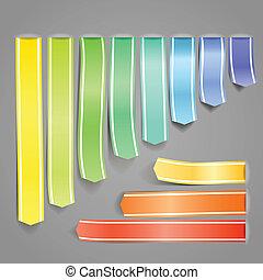 decorativo, conjunto, color, cintas, publicidad, raso