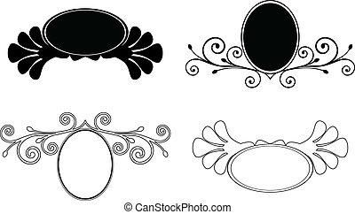 decorativo, conjunto, frames., ilustración, vector, floral