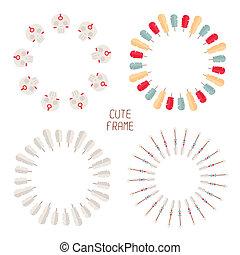decorativo, conjunto, indio, elements., receptor, plumas, ...