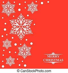 decorativo, copos de nieve, fondo rojo, tarjeta de navidad