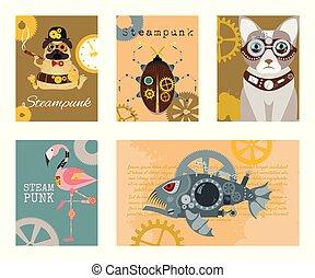 decorativo, cor-de-rosa, fantástico, jogo, steampunk, quadro, metal, estilo, vetorial, caricatura, gravura, peixe, engrenagens, animal, flamingo, cartões, gato, cão, pistols., illustrations.