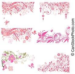 decorativo, cor-de-rosa, fronteiras