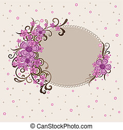 decorativo, cor-de-rosa, quadro, floral