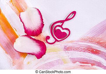 decorativo, coração, felt., rosa, forma, cor-de-rosa, clef,...