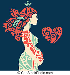 decorativo, coração, mulher, silueta, grávida, abstratos, ...