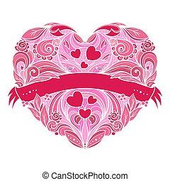 decorativo, coração, pattern., floral