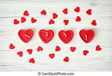 decorativo, coração, pequeno, valentine, madeira, velas, fundo, corações, dia, vermelho