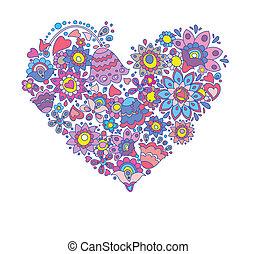 decorativo, corazón, floral, tarjeta de felicitación