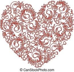 decorativo, corazón, imagen, vector, floral