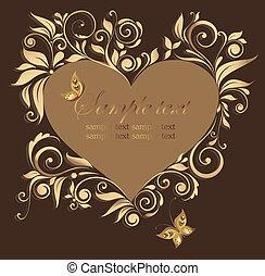decorativo, corazón, marco, floral, forma