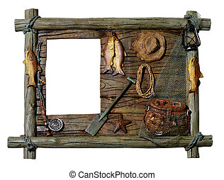 decorativo, cornice legno, pesca, tema