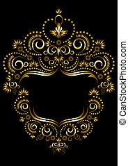 decorativo, cornice, orientale, s, oro