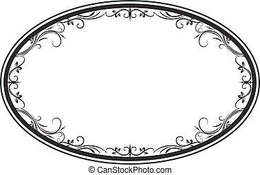 decorativo, cornice, ovale, vettore, floreale, foglie, tuo, design.