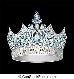 decorativo, coroa, de, prata, e, pedras preciosas