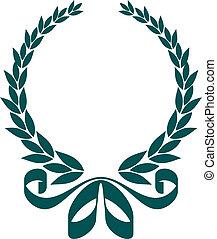 decorativo, corona d'alloro, nastro, foliate