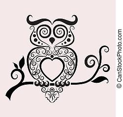 decorativo, coruja, vetorial