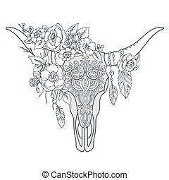 decorativo, cráneo, ornamento, étnico, l, indio, toro,...