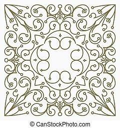 decorativo, cuadrado, elemento