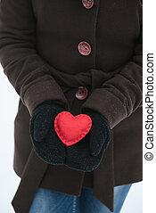decorativo, cuore, giorno valentines, rosso