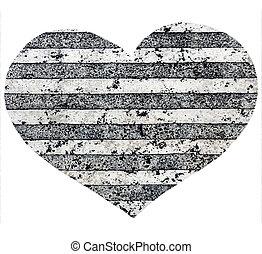 decorativo, cuore, strisce, marmo, struttura