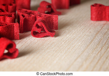 decorativo, cuori, fondo, rosso