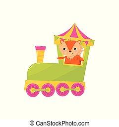 decorativo, cute, cartão postal, character., desenho, viajando, crianças, pequeno, brinquedo, train., raposa, animal, loja, apartamento, coloridos, cartaz, book., caricatura, elemento, s, vetorial, ou