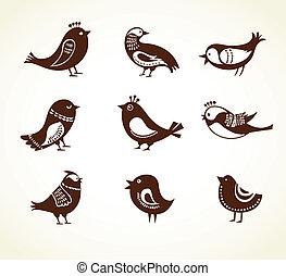 decorativo, cute, jogo, pássaros