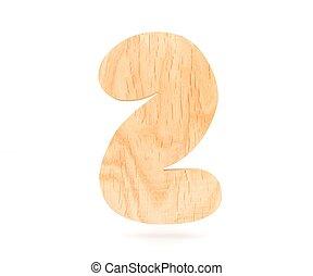 decorativo, dígito, illustration., madeira, alfabeto, símbolo, -, dois, isolado, fazendo, fundo, 2., branca, 3d