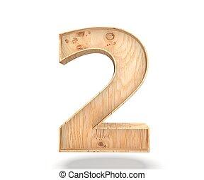 decorativo, dígito, illustration., madeira, alfabeto, símbolo, -, isolado, fazendo, zero, fundo, 2., branca, 3d