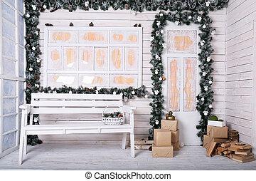 decorativo, decoração, natal, alpendre
