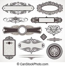 decorativo, decoración, elementos, y, vector, diseño, página