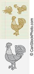 decorativo, dibujos, gallo