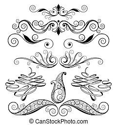 decorativo, diseño floral, elementos