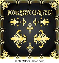 decorativo, disegno floreale, elementi, e, ornamenti