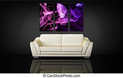 decorativo, divano, tela, pannello