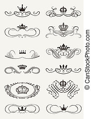 decorativo, dividers., scrolls, vindima, vitoriano, crown.