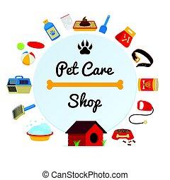 decorativo, doghouse, fornitura, coccolare, birdcage, cornice, accessori, illustrazione, rotondo, vettore, prodotti, cura, composizione, canile