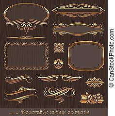 decorativo, dorado, decoración, elementos, y, vector,...