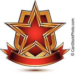 decorativo, dorado, ondulado, emblema, protector, protección, clásico, real, aislado, símbolo, dimensional, plano de fondo, raya, vector, rojo, brillante, estrella, blanco, sofisticado, element., 3d