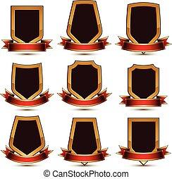 decorativo, dorato, affascinante, set, lucidato, protezione, ribbon., collection., lockets, isolato, vettore, bianco, simboli, fondale, elementi, geometrico, branded, schermi, rosso, 3d