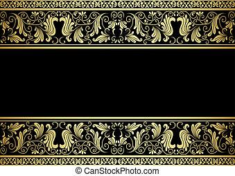 decorativo, dorato, cornice, elementi