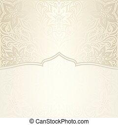 decorativo, dorato, mandala, spazio, vendemmia, bege, ecru, fondo, matrimonio, floreale, copia